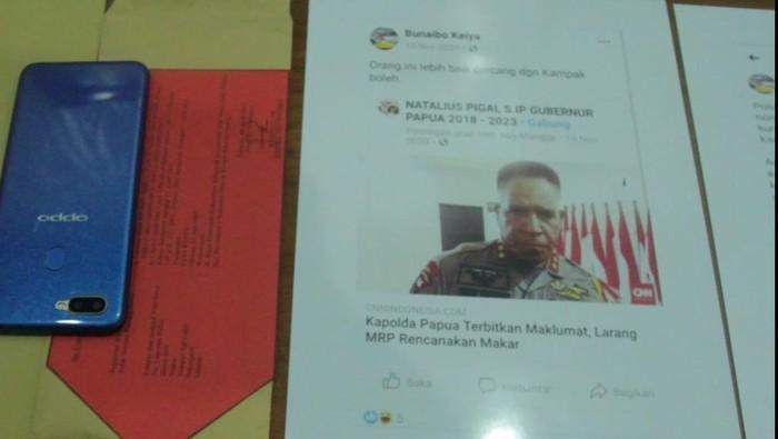 Barang bukti kasus pria di Jayapura hina Komjen Paulus Waterpauw