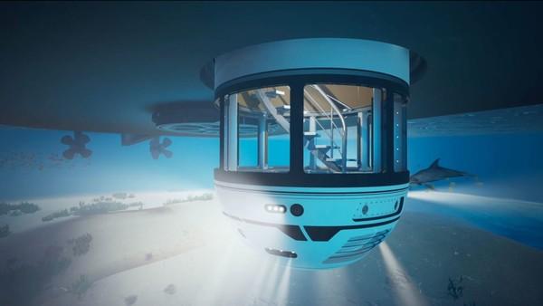 Ini adalah hydrosphere, dek observasi bawah air untuk superyacht yang mampu menampung hingga tujuh orang. Konsep tersebut dapat diterapkan pada kapal yang ada berukuran 90 meter.