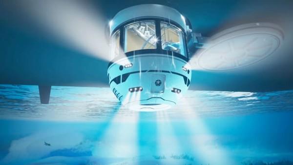 Saat tidak berfungsi, fitur Hydrospheredapat ditarik kembali ke dalam lambung kapal.Fasilitas inidilindungi oleh palka eksternal.