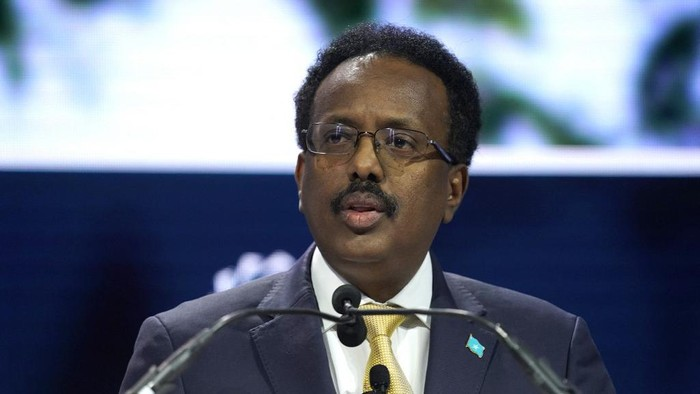 NEW YORK, NEW YORK - SEPTEMBER 23: President of Somalia Mohamed Abdullahi Mohamed speaks onstage during the 2019 Concordia Annual Summit - Day 1 at Grand Hyatt New York on September 23, 2019 in New York City.   Riccardo Savi/Getty Images for Concordia Summit/AFP (Photo by Riccardo Savi / GETTY IMAGES NORTH AMERICA / Getty Images via AFP)