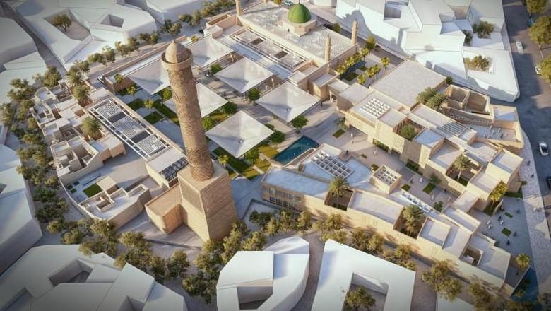 Ilustrasi pembangunan Masjid di Mosul