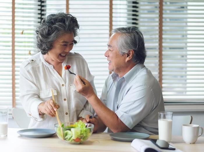 Ilustrasi menu makan sehat untuk lansia.