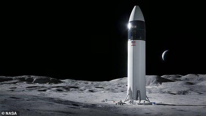 Rancangan gambar Roket SpaceX di Bulan untuk Misi Artemis 1 yang akan terbang 2024 membawa 2 astronaut, 1 adalah perempuan.