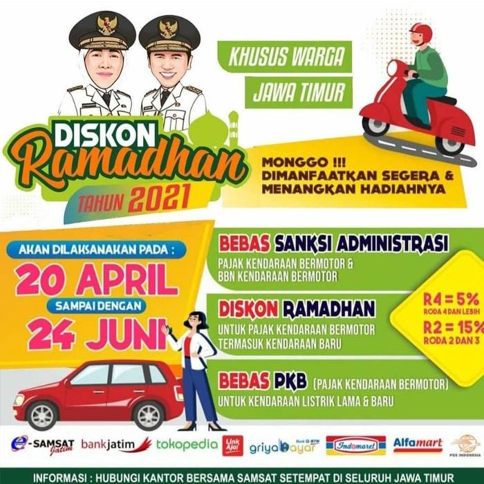 Pemprov Jatim memberikan diskon Ramadhan 2021 pada wajib pajak khusus warga Jatim. Diskon ini berupa pengurangan pokok Pajak Kendaraan Bermotor (PKB).