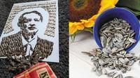 Keren! Seniman Ini Ciptakan Lukisan pakai Ratusan Kuaci