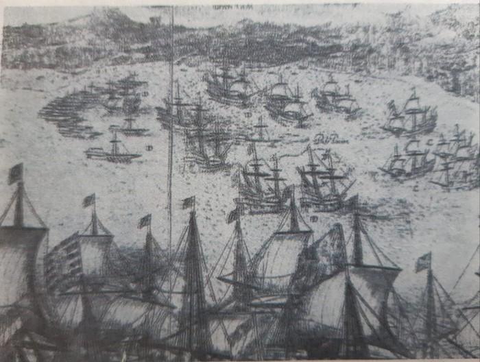 Lukisan angkatan laut Kesultanan Banten di yang berlayar di antara kapal asing kompeni dan Portugis di Teluk Banten pada 1601