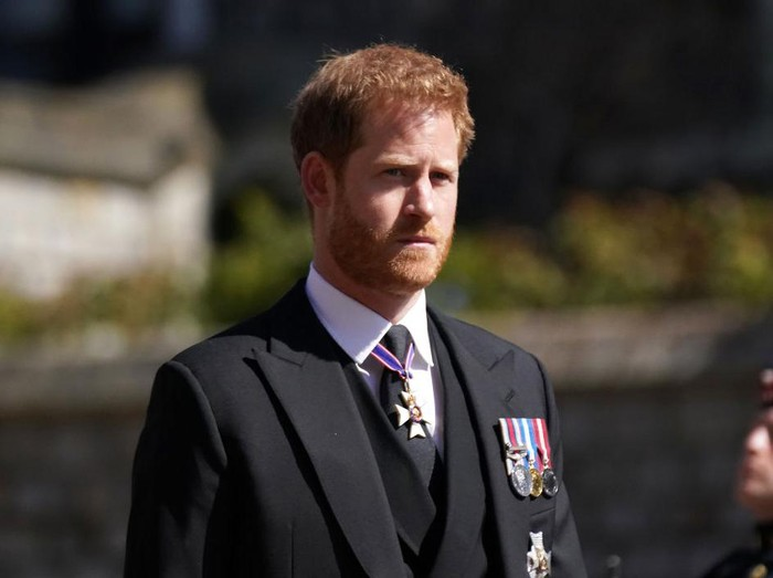 WINDSOR, ENGLAND - APRIL 17: Prince Harry arrives for the funeral of Prince Philip, Duke of Edinburgh at St Georges Chapel at Windsor Castle on April 17, 2021 in Windsor, England. Prince Philip of Greece and Denmark was born 10 June 1921, in Greece. He served in the British Royal Navy and fought in WWII. He married the then Princess Elizabeth on 20 November 1947 and was created Duke of Edinburgh, Earl of Merioneth, and Baron Greenwich by King VI. He served as Prince Consort to Queen Elizabeth II until his death on April 9 2021, months short of his 100th birthday. His funeral takes place today at Windsor Castle with only 30 guests invited due to Coronavirus pandemic restrictions. (Photo by Victoria Jones - WPA Pool/Getty Images)