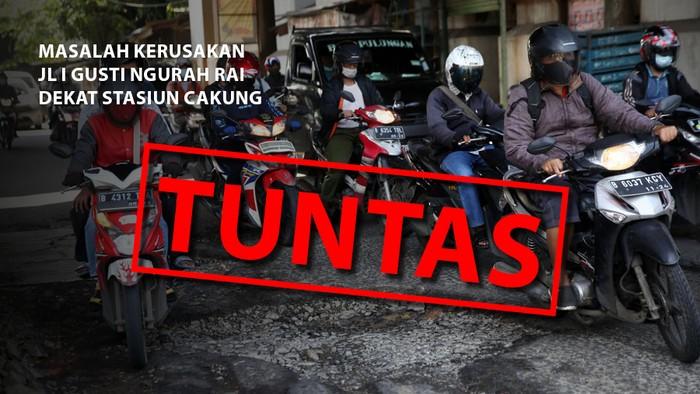 Jl I Gusti Ngurah Rai yang semula rusak kini sudah diperbaiki. (Repro: Mindra Purnomo/detikcom)
