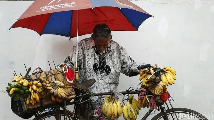 Semangat seorang kakek di Bekasi ini patut dicontoh. Dia tetap semangat berjulan pisang dengan menggunakan sepeda ontel.