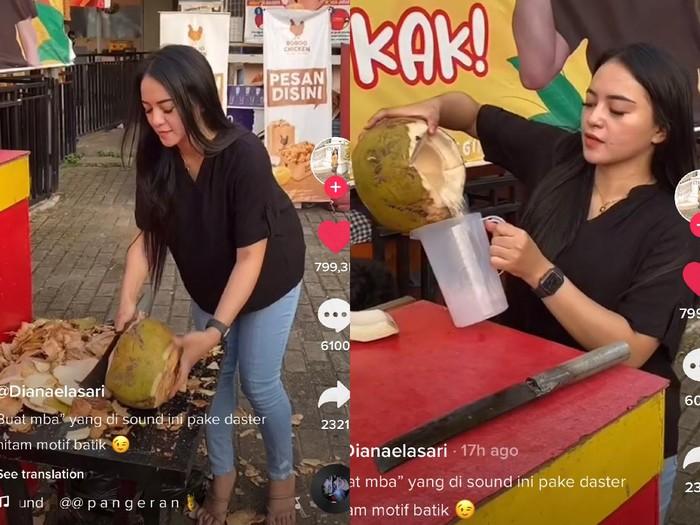 Viral penjual es kelapa cantik di Samarinda bikin salfok.