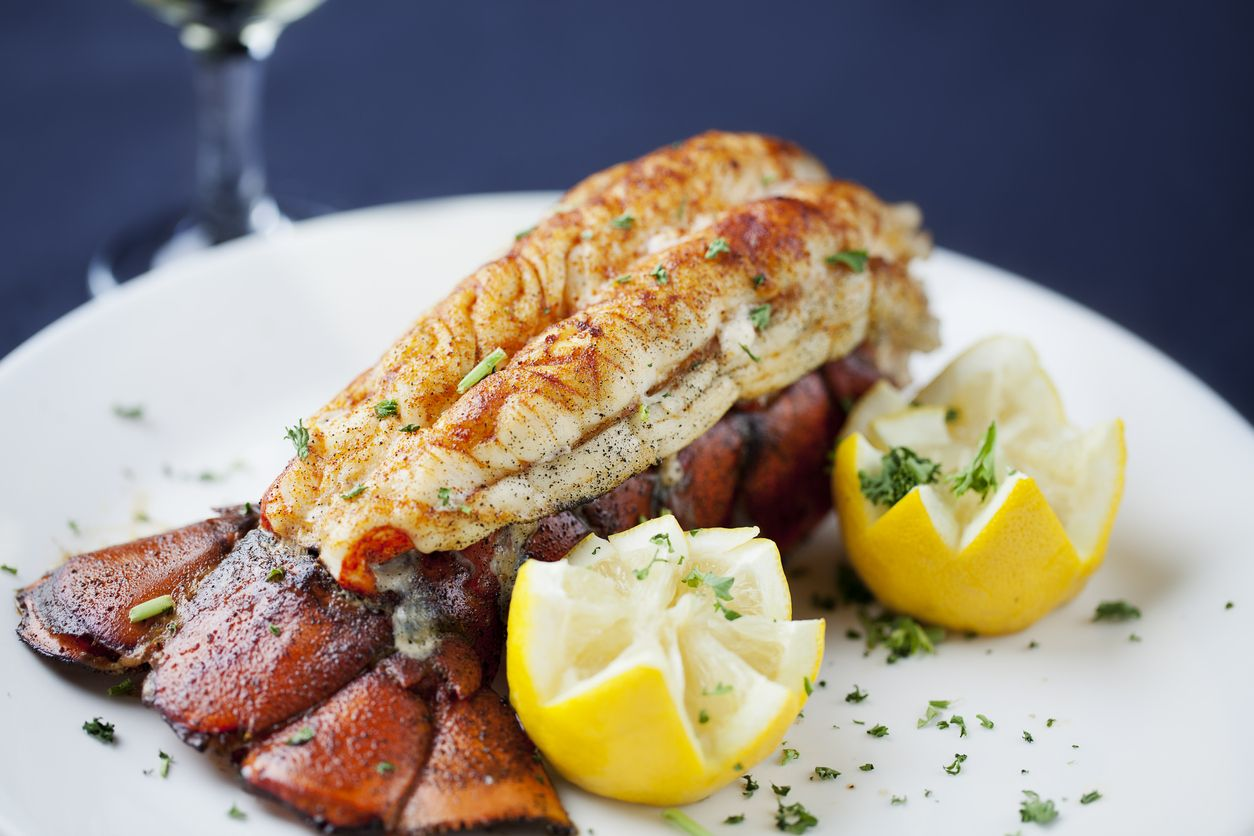 Large lobster tail served with white wine. You might also be interested in these: