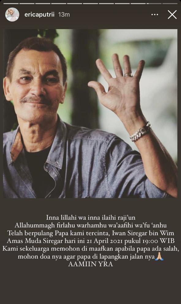 Ayah Citra Kirana, Irwan Siregar, meninggal dunia.