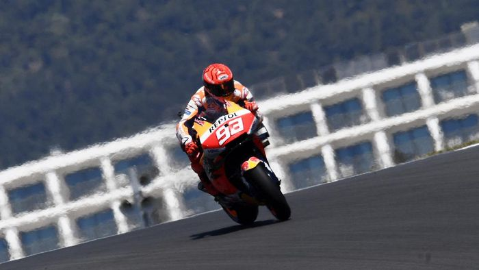 MotoGP rider Marc Marquez of Spain steers his motorcycle during the Portuguese Motorcycle Grand Prix at the Algarve International circuit near Portimao, Portugal, Sunday, April 18, 2021. (AP Photo/Jose Breton)