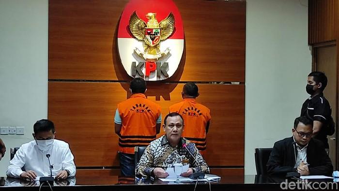 Konferensi pers KPK penetapan tersangka kasus jual-beli jabatan di Pemkot Tanjungbalai (Azhar/detikcom)