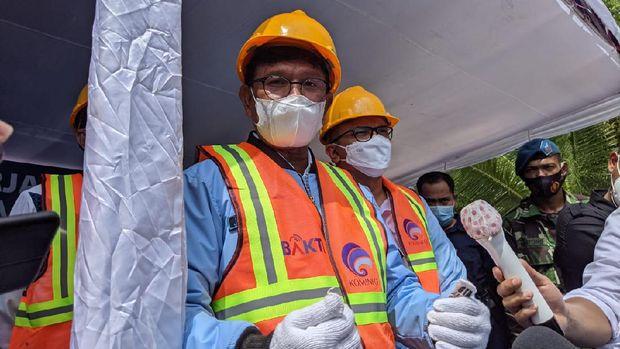 Kunjungan kerja Menkominfo G Plate ke Desa Kelangan, Kabupaten Natuna, Kepulauan Riau dalam rangka ground breaking BTS 4G.