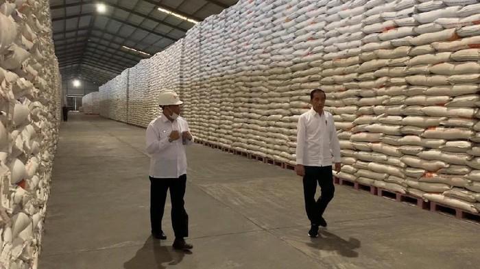 Presiden Jokowi dan Dirut BULOG meninjau stok beras