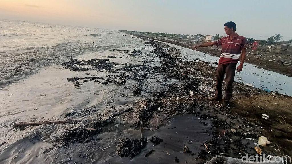 Miris Tumpahan Minyak Cemari Pantai di Karawang