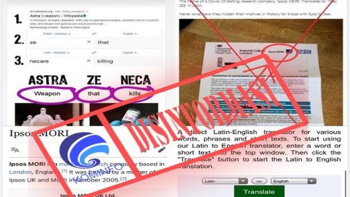Viral di media sosial Facebook, AstraZeneca disebut memiliki arti senjata yang membunuh. Tentu saja ini bikin heboh karena AstraZeneca merupakan salah satu nama produsen vaksin COVID-19.  AstraZeneca adalah nama perusahan yang memproduksi vaksin corona di Inggris. Dari klaim di Facebook, artinya akan sangat menyeramkan karena berasal dari Bahasa Latin. Kata tersebut jika diterjemahkan ke dalam Bahasa Inggris berarti weapon that kills (senjata yang membunuh).