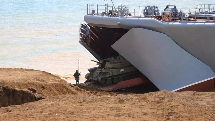 The Russian defence ministry released dramatic footage of the land and sea manoeuvres Vadim Savitsky Russian Defence Ministry/AFP