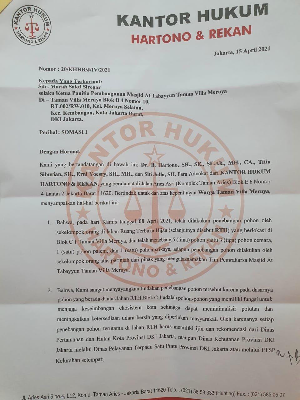 Surat somasi Hartono (Dok. Tim Pembangunan Masjid)