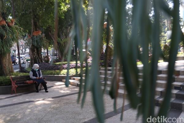 Rimbunnya pepohonan membuat taman ini nyaman, kita bisa duduk dan nongkrong di kursi yang ada di taman ini. Fasilitas itu membuat para pengunjung semakin nyaman.