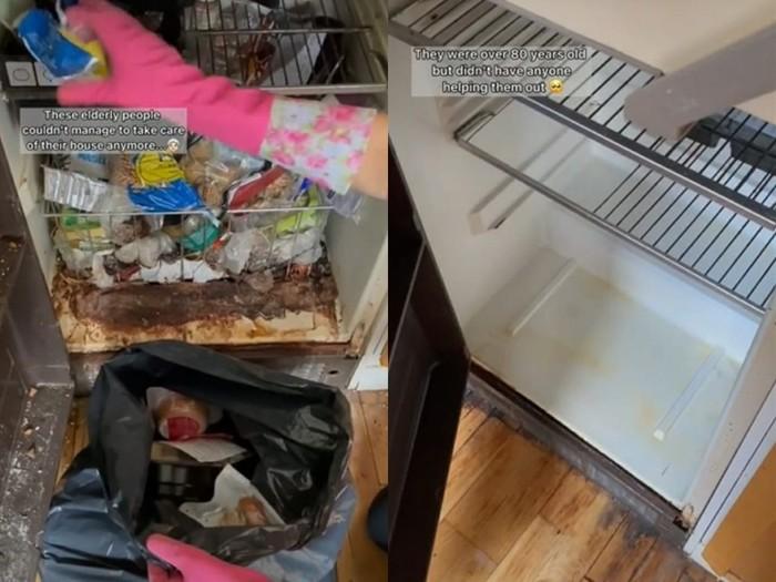 wanita bantu bersihkan perabotan dapur pasangan kakek nenek yang sudah renta.