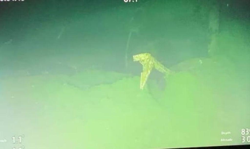Foto tak ternilai yang dirilis TNI AL pada Minggu 25 April 2021 ini memperlihatkan bagian dari kapal selam KRI Nangala yang tenggelam di Laut Bali.  Pekan lalu militer Indonesia mengaku tidak memiliki harapan untuk menemukan kapal selam yang tenggelam bersama 53 awak pekan lalu itu, dan tim pencari menemukan bangkai kapal tersebut di laut.  (AL Indonesia via AP)