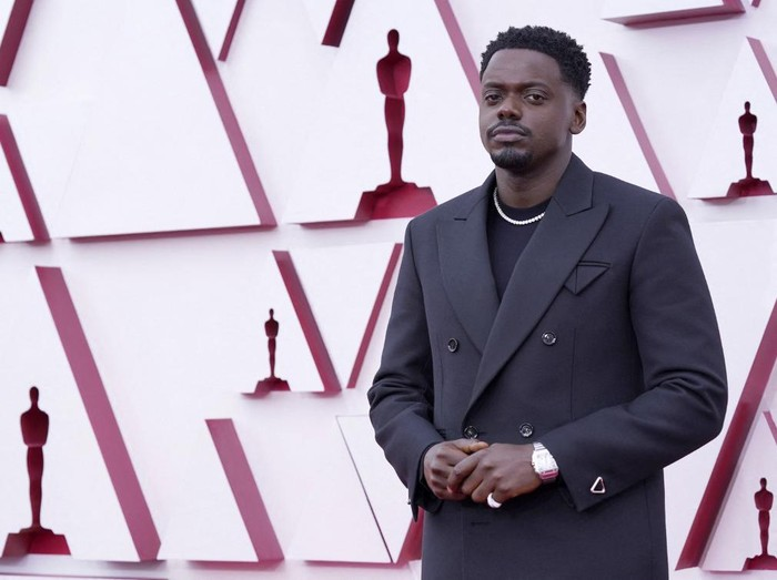 British actor Daniel Kaluuya, nominated for Actor in a Supporting Role for Judas and the Black Messiah, arrives at the Oscars on April 25, 2021, at Union Station in Los Angeles. (Photo by Chris Pizzello / POOL / AFP)