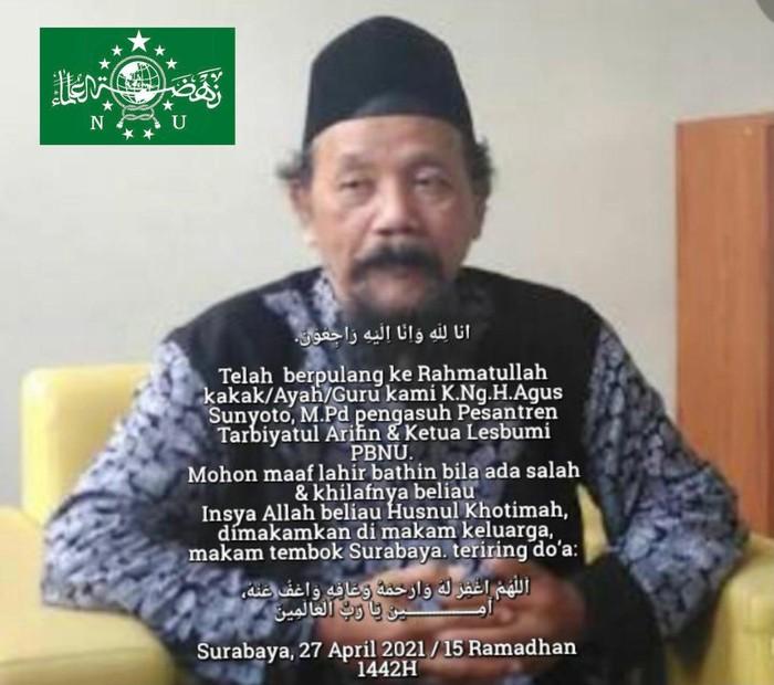K. Ng. H. Agus Sunyoto, Pengasuh Pesantren Global Tarbiyatul Arifin, Malang, Jawa Timur, dan Ketua Lesbumi PBNU meninggal dunia