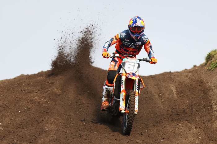 VALKENSWAARD, NETHERLANDS - MARCH 31:  Jorge Prado of Spain on a KTM for Red Bull KTM Factory Racing competes during the MX2 Motocross World Championship on March 31, 2019 in Valkenswaard, Netherlands. (Photo by Dean Mouhtaropoulos/Getty Images)