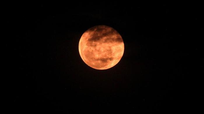 Fenomena Bulan Supermoon atau super Pink Moon menghiasi langit Kota Lhokseumawe, Aceh, Selasa (27/4/2021). Menurut Lembaga Penerbangan dan Antariksa Nasional (LAPAN) fenomena Pink Supermoon yang melintasi langit Indonesia dengan jarak dekat dengan Perige (garis edar suatu benda langit yang terdekat dengan bumi) 357.616 kilometer itu adalah fenomena pertama di antara dua supermoon tahun 2021. ANTARA FOTO/Rahmad/rwa.