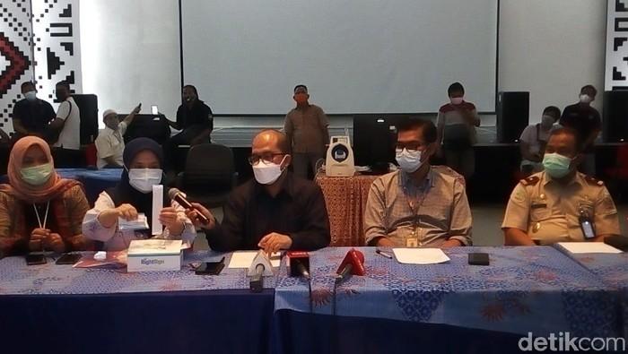 Jumpa pers di Kantor Angkasa Pura II terkait kasus tes antigen pakai alat bekas (Datuk Haris/detikcom)