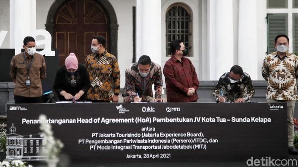 Kolaborasi BUMN dan BUMD di atas ditandai dengan penandatanganan dokumen Perjanjian Pokok atau Head of Agreement (HoA) yang dilakukan oleh Direktur Utama JXB Novita Dewi, Direktur Utama ITDC Abdulbar M. Mansoer dan Direktur Utama PT MITJ Tuhiyat.