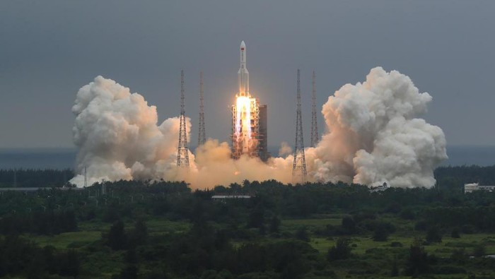 In this photo released by Chinas Xinhua News Agency, a Long March 5B rocket carrying a module for a Chinese space station lifts off from the Wenchang Spacecraft Launch Site in Wenchang in southern Chinas Hainan Province, Thursday, April 29, 2021. China has launched the core module on Thursday for its first permanent space station that will host astronauts long-term. (Ju Zhenhua/Xinhua via AP)