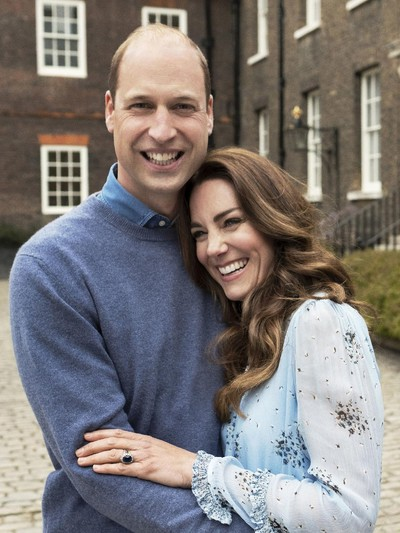 In this photo provided by Camera Press and released Wednesday, April 28, 2021, is Britains Prince William and Kate, Duchess of Cambridge, at Kensington Palace photographed this week in London, England. The Duke and Duchess of Cambridge celebrate their tenth wedding anniversary on Thursday, April 29. (Chris Floyd/Camera Press/PA via AP)