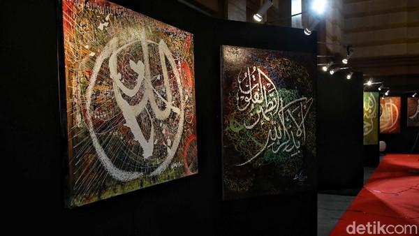 niknya di pameran kaligrafi itu ada lukisan Presiden Joko Widodo, Prabowo Anies Baswedan dan Sandiaga Uno