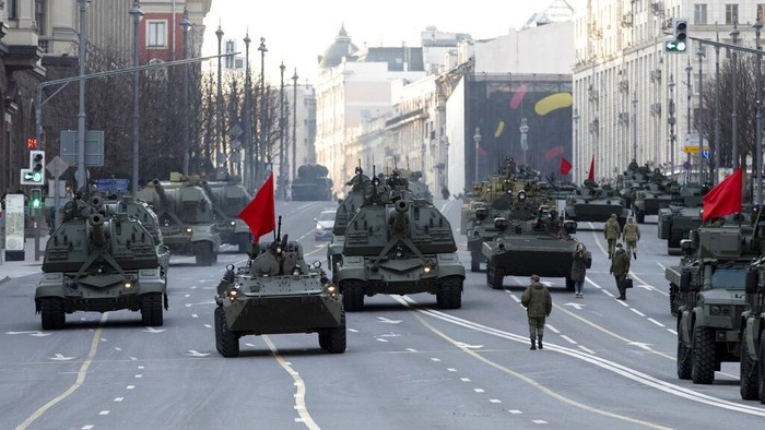 Parked Russian military vehicles preparing to roll along Tverskaya street toward Red Square during a rehearsal for the Victory Day military parade in Moscow, Russia, Thursday, April 29, 2021. The parade will take place at Moscows Red Square on May 9 to celebrate 76 years of the victory in WWII. (AP Photo/Alexander Zemlianichenko)