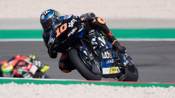 PORTIMAO, PORTUGAL - APRIL 16: Luca Marini of Italy and SKY VR46 Esponsorama rounds the bend during the MotoGP of Portugal - Free Practice at Autodromo Internacional Do Algarve on April 16, 2021 in Portimao, Portugal. (Photo by Mirco Lazzari gp/Getty Images)