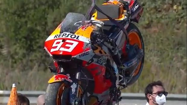 Motor Marc Marquez usai crash di MotoGP Spanyol 2021