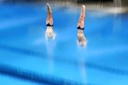 Aksi Atlet Loncat Indah di Uji Coba Olimpiade Tokyo