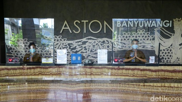 Beginilah penampakan lobby depan hotel ASTON Banyuwangi yang telah menerapakan protokol kesehatan dengan ketat.