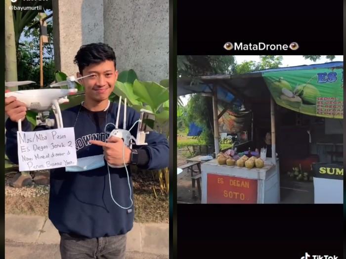 Canggih! Pria Ini Beli Es Kelapa untuk Buka Puasa pakai Drone