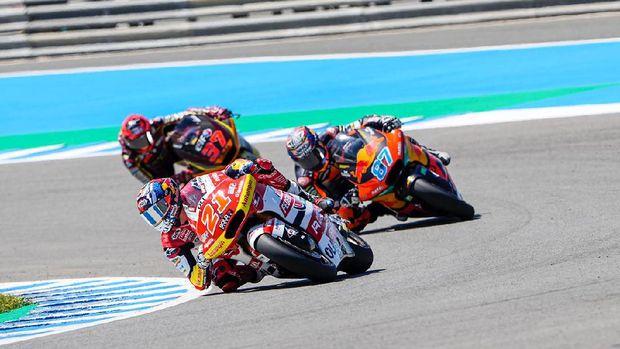 Indonesia Racing Team melalui pebalap Federal Oil Gresini Team meraih podium juara di Moto2 Spanyol, Minggu (2/5/2021)