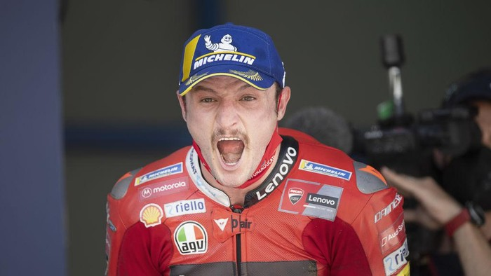 JEREZ DE LA FRONTERA, SPAIN - MAY 02: Jack Miller of Australia and Ducati Lenovo Team celebrates the victory under the podium at the end of the MotoGP race during the MotoGP of Spain - Race at Circuito de Jerez on May 02, 2021 in Jerez de la Frontera, Spain. (Photo by Mirco Lazzari gp/Getty Images)