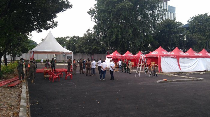 Lokasi kerumunan konser musik di Cibis Park, Pasar Minggu, Jaksel (Foto: Adhyasta/detikcom)