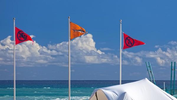 Namun waspadalah ketika melihat 3 bendera ini di pantai-pantai Pulau Reunion. Bendera peringatan itu dipasang sebagai tanda, bahwa traveler dilarang berenang dan berselancar di pulau tersebut. (Getty Images/iStockphoto/Gwengoat)