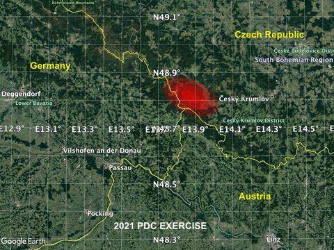 Wilayah yang berpotensi ditabrak asteroid dalam simulasi NASA
