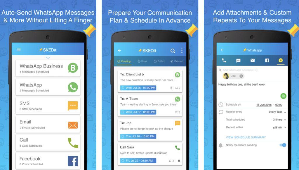 Aplikasi ini adalah SKEDit. Kamu bisa mengunduhnya di Google Play Store. Aplikasi ini bisa dipakai untuk schedule pesan WhatsApp, WhatsApp Business, SMS, e-mail, juga telepon.