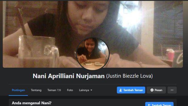 Tangkapan layar FB Nani Aprilliani. Polisi menyebut akun ini sudah tidak digunakan tersangka sejak 2014 lalu.