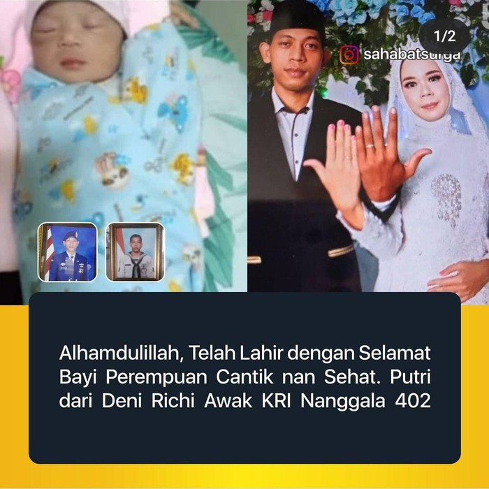 Denny Richi Sambudi (28) merupakan salah satu kru KRI Nanggala-402 yang tenggelam di perairan Bali. Beberapa hari lalu, istrinya Endik Mudifatul Fitriyah melahirkan seorang putri.